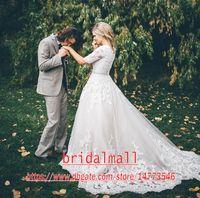 Vintage 2020 A Line кружевные аппликации свадебные платья с прозрачной половиной рукава придворный поезд слоновая кость тюль свадебные платья плюс размер свадебные платья