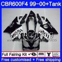 Cuerpo + tanque para HONDA CBR600 F4 CBR 600 F4 FS Negro oeste brillante CBR600 F 4 287HM.4 CBR600F4 99 00 CBR600FS CBR 600F4 1999 2000 kit de carenados