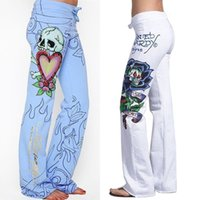Brand New Fashion Sexy Femmes Casual Baggy Skull Rose Imprimé Hippie Large Jambe Boho Sexy Dames Élégant Pantalon