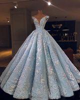 2020 Işık Gökyüzü Mavi Tatlı 16 Elbiseler Baltalar Kapalı Omuz Quinceanera Elbise 3D Çiçekler Aplikler Kız Parti Örgün Balo Abiye giyim