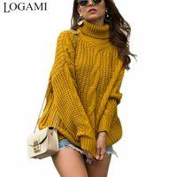 Женские свитеры Logami Корейский стиль вязаный водолазки свитер Женщины свободный поворот осень зимний пуловер и прибытие