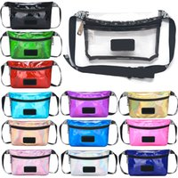 Pink Fanny Pack Transparent Waist Bag Laser Outdoor Bag Lett...