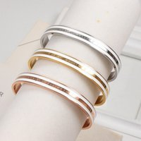 Luxury Fashion Women Bangles Open Cuff Designer di marca in acciaio inox 3 colori DWWD Mens Love Bracciale per cintura regalo in oro placcato oro