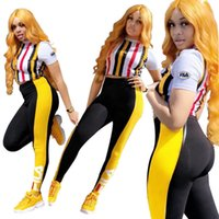 FLA Damen Designer Zweiteiler Striped Paneled Female 2PCS Outfits Casual Womens Apparel