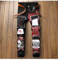 Sokotoo Erkek kafatası baskılı İskoç ekose patchwork kot Trendy yamalar tasarım siyah sıkıntılı kot uzun pantolon yırtık