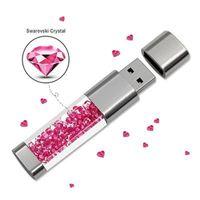 Moda Elmas Kristal USB Flash Sürücü Metal Kalem Sürücü Toplu 4G 8G 16G 32 GB Memory Stick U Disk Pendrive En Iyi Hediye 64 GB Başparmak Sürücüler