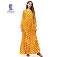 Dubai Kadınlar Artı Boyutu Elbise Abayas Türkiye Malezya Türk Kaftan İslam Giyim Sarı Maxi Müslüman Uzun Kollu