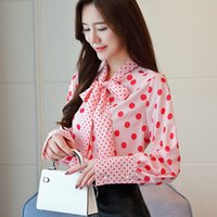 Womens Tops and Blouses Bow print Casual Long sleeve Shirts ...