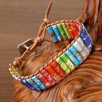 Diezi drop frete natural tubo grânulos pulseira de pedra envoltório de couro pulseira de jóias para mulheres homens artesanais 7 pulseira de chakra