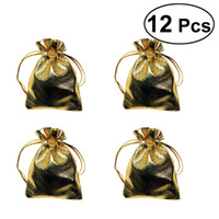 PIXNOR 12 pezzi sacchetti di cioccolato caramelle sacchetti di organza heavyweight oro sacchetti di caramella per matrimonio compleanno festa fornitore