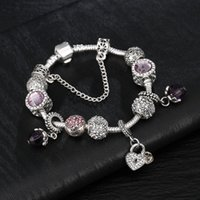 özel logolu Toptan-Charm Bilezik 925 Gümüş Pandora Bilezikler İçin Kadınlar Royal Crown Bilezik Mor Kristal Boncuk Diy Takı