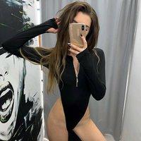 Fermuar Seksi Yüksek Bacak Uzun Kollu Bodysuit Parti Kadın Vücut Sıcak Seksi Teddies Tulumlar Kadınlar Derin V Kulübü Bodysuits