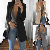 Casual Uzun Kollu Katı Renk Turn-down Yaka Ceket Lady İş Ceket Suit Coat İnce En Kadınlar Blazers Kadın 2019 W3 MX190809