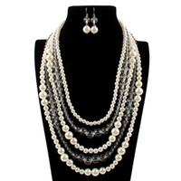 Elegante hochwertige künstliche transparente Perlen und Perlen lange Halskette mehrschichtige Halskette weiblichen Accessoires für Brautmode
