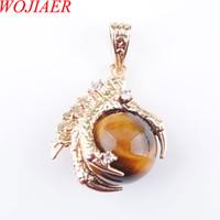 Wojier Natürlicher Tiger Saue Edelstein Steine Runde Perlen Drachenklaue Gold Anhänger Halskette Schmuck DN3093