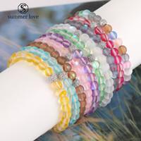 6 mm Dull polonais en verre givré flash pierre perles Bracelet pour Femmes Hommes 12 couleurs Moonstone CZ Micro Pave Boule Perles Charm Bracelet de bijoux