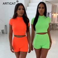 Articat Set due pezzi Neon verde Top Shorts Suit Sexy dolcevita manica corta Bodycon Suit donna Casual Femme Tuta Playsuit