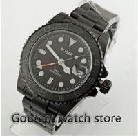 d26628c8b36 40mm Bliger preto mostrador preto caso PVD cerâmica Bezel cristal de safira  GMT relógio dos homens