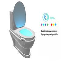 8 Couleurs Accueil Home Smart Bathroom Nightlight Led Body Motion Activé ON / OFF Capteur de siège PIR Toilette Night Lamp LXL835-1