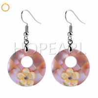 Yellow Flowers Pink Shell Beach Jewelry Gift Natural Shell C...