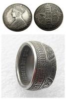 Handmake Anello moneta dalla Gran Bretagna Victoria 1853 AR Gothic 1 corona d'argento placcato Copia moneta nella Taglie 8-16