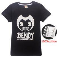 bendy ve% 100 Pamuk 4-14y Kid Boys tişört Siyah Çocuklar tişörtleri çocuklar tasarımcı kıyafetleri erkek DHL SS70 Machin mürekkep