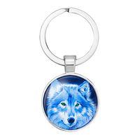 2019 nueva moda creativa colgante llavero lobo totem luna estrellada árbol lobo aullando tiempo piedras preciosas llavero de cristal