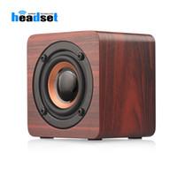 Rétro sans fil Bluetooth Caisson de graves Haut-parleurs stéréo Par Bluetooth 4.2 Haut-parleurs en bois avec 1200mAh pour Smartphone