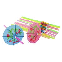 Cheap Plastic Straw Cocktail Parasols Umbrella Drink Picks Wedding Event Party Supplies Holiday Luau Sticks KTV Bar Cocktail Decorations