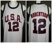 Oscar Robertson # 12 EUA Dream Team Roma Olímpica Verão 1960 Retro Basquetebol Jersey Mens Costume Personalizado Qualquer Número Nome Jerseys