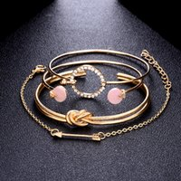 Boho Flèche Noeud Bracelets 4pcs Multilayer réglable ouvert bracelet en cristal femmes Bijoux Parti Accessoires Cadeaux Fête des Mères Noël