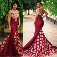 Borgogna vestiti da sera sexy africani partito convenzionale di usura Prom Dress Mermaid tromba vesti de soirée Arabia Saudita Plus Size Gown