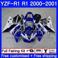 Kropp för Yamaha YZF 1000 YZF R 1 Vit Blå Stock YZF-1000 YZFR1 00 01 Ram 236HM.15 YZF-R1 00 01 Bodywork YZF1000 YZF R1 2000 2001 Fairing