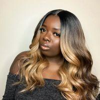 Медовая блондинка кружева фронт парик Glueless полный парики шнурка человеческих волос Ombre парик черные корни 1B 27 объемная волна бразильские девственные волосы