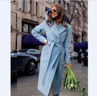 Mujeres Woolen Coat Belted Chaquetas Sólido Color Abrigos Mujer 2 Bolsillos Outerwear Weol Trench Capa Largo Outwear Ropa femenina