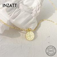 INZATT réel 925 ronde en argent sterling vintage compass Pendent collier pour 2019 Mode Femme Couleur Or Boho Bijoux Cadeau V191129