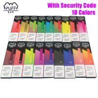 18 Renkler Güvenlik Kodu En Popüler Puf Bar Tek Vape Cihaz 280mAh Pil 1.3ml Kartuş Puff Bar hazır dolu Takımı