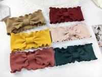 Kız Şık ilmek Kafa Büküm Hairband Bow Knot Çapraz Tie Katı Şapkalar Güzel Bebekler Çocuk Kız Papyon Şapkalar