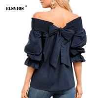 ELSVIOS 5XL Элегантный Летний Задний бант Блузка Женщины Sexy Slash шеи Три Четверти Рубашки Леди 2019 Мода С Плечами Топы Blusas