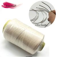 50nits 60mm C typu tkactwo igły z 1 rolka czarna gwint tkania / wysokiej intensywności poliamid nylonowy nitki / włosy narzędzia przedłużające