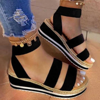 Womens Sandals Ladies Summer Fashion Flat Comfortable Elastic Band Ankle Strap Wedge Open Toe Platform Shoes Plus Size M140#