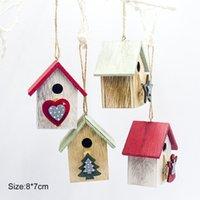 Jul Färgrik Målning Små Trä Hus Julgran Hängande Dekoration Festlig Party Supplies Tree Decorations
