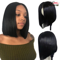 Peruvian Straight Short Bob Wigs Natural Color 4x4 Straight ...