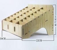 Di legno box Creative Desktop Office Meeting di finitura Griglia Multi Cell Phone Rack negozio di caso di esposizione Organizzatore del telefono mobile di gestione