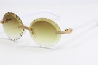 2020 도매 더블 행 큰 돌 limless 안경 3524012A 화이트 플랭크 대형 둥근 안경 빈티지 / 절반 프레임 선글라스 뜨거운