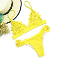 Sexy Mesh Embroidered Flower Strappy Bikini Bathing Suit Swi...