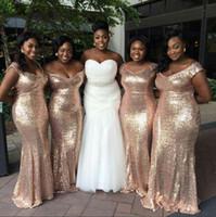 African Rose Gold Sequins sirena vestidos de dama de honor fuera del hombro sin respaldo más tamaño Beach Wedding Party vestidos túnicas de demoiselle d'honneur