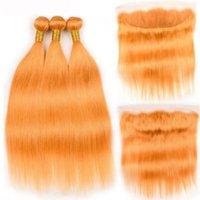 El cabello humano Remy Remy Remy Naranja puro de alta calidad teje 3 paquetes de tejido con 13x4 encaje frontal envío gratis