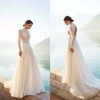 2020 Gali Karten Bohême robes de mariée Une ligne de balayage train dentelle dos creux Robe de mariée haut col Robes de mariée Custom Made Boho