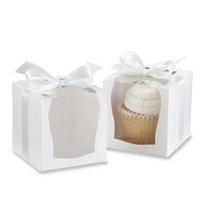 Atacado- caixa de presente artesanato de papel 9 * 9 * 9cm caixas de cupcake individuais com inserção e fita arco suprimentos de casamento 12pcs